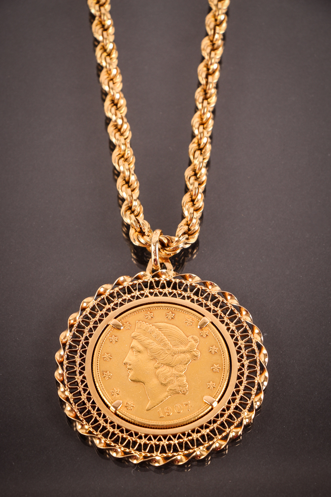 1907-D 20 Dollar Liberty Head Gold Double Eagle Gold Necklace
