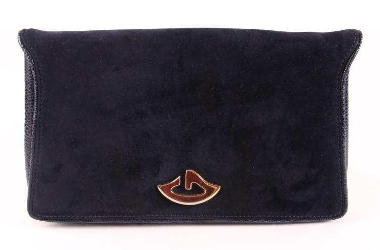 A Gucci Navy Blue Suede Clutch