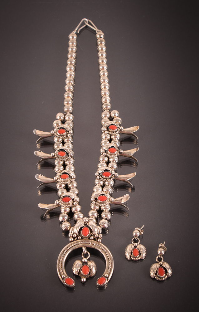 Silver and Coral Squash Blossom Necklace and Earrings, Native American