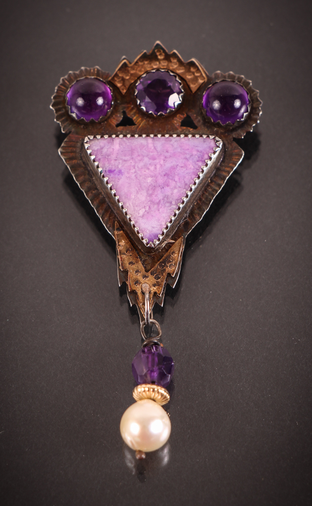 Fine Artisanal Judy Shu Silver, Amethyst & Pearl Modernist Pin