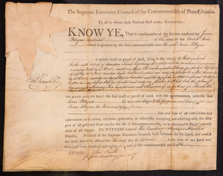 Benjamin Franklin signed Land Grant Document