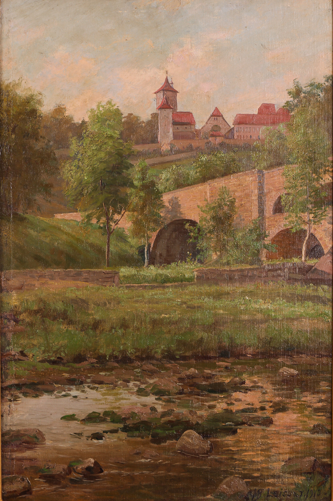 Martin Leisser View of Knotenberg Germany Oil Painting 1913