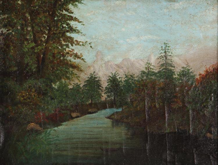 Naïve Landscape Painting of Western Pennsylvania Couple Canoeing in Idyllic Frontier