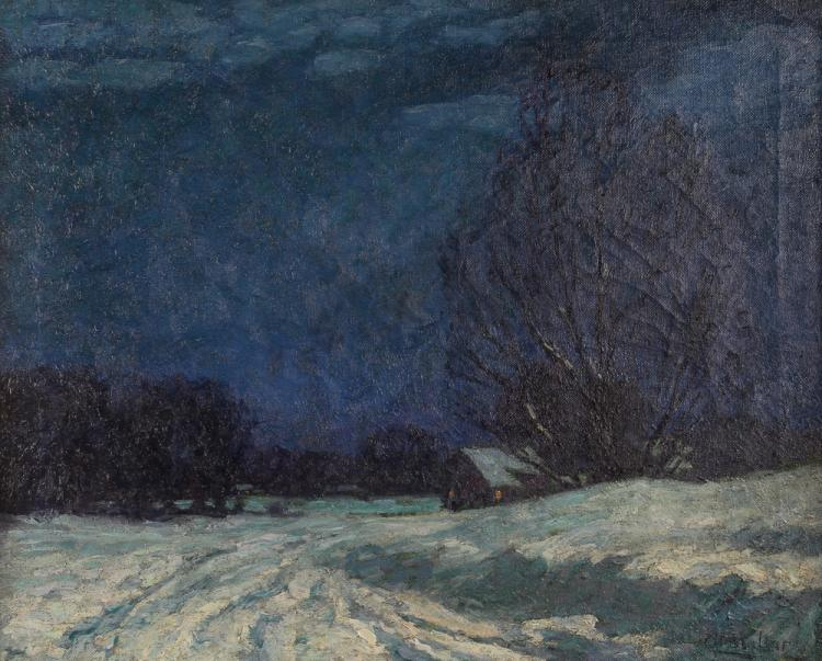 Christian Walter painting Moonlight Snowy Farmscape