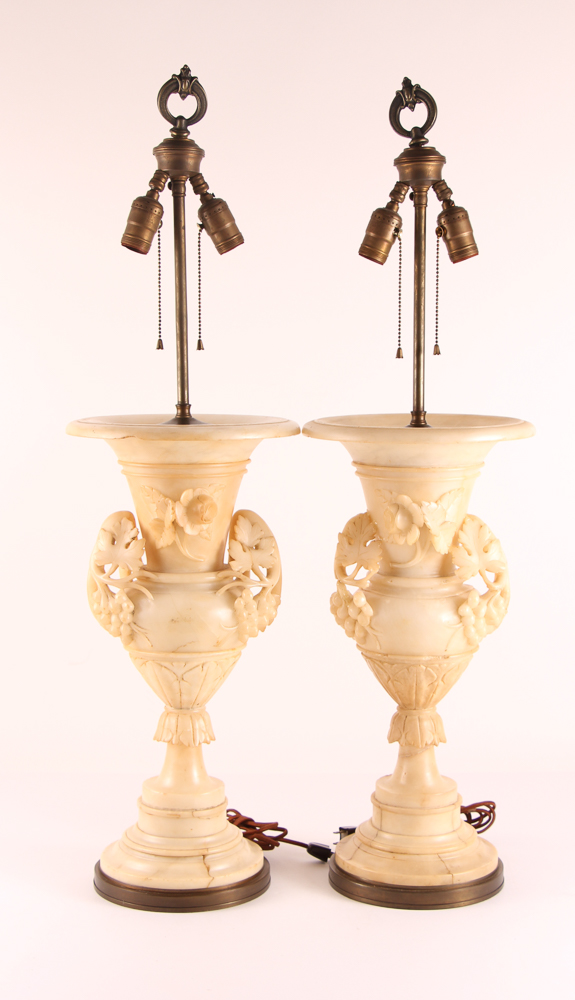 Pair, Neoclassical Carved Alabaster Lamps