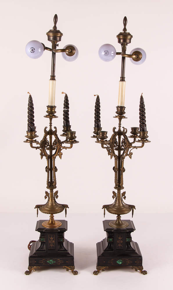 pair 5 light bronze candlesticks with marble bases, electrified as lamps