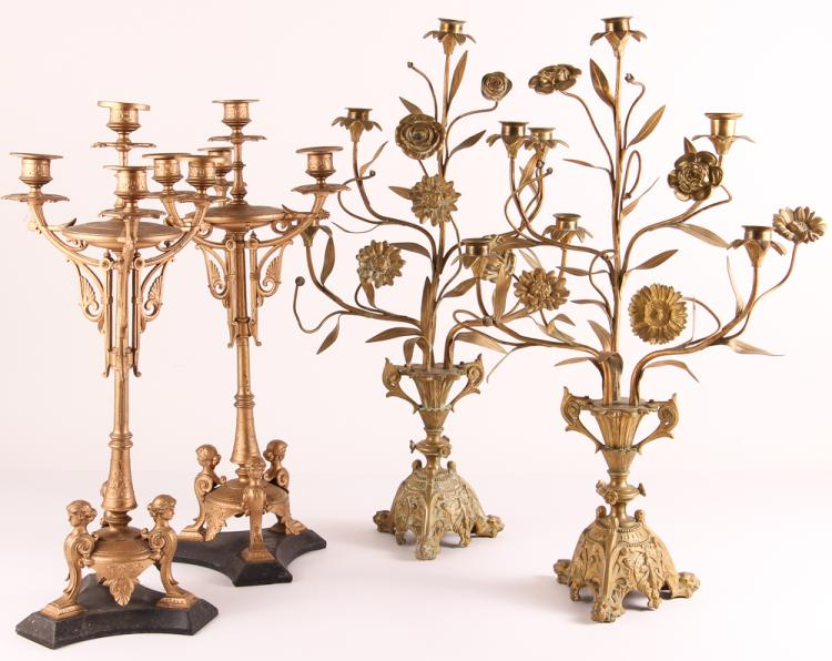 4 20th Century Gilt Metal Garniture