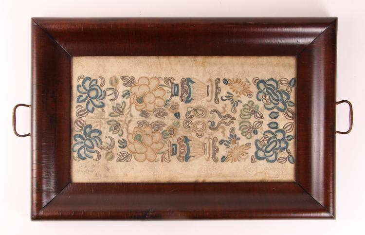 Antique Tray w Antique Crewel Embroidery Insert