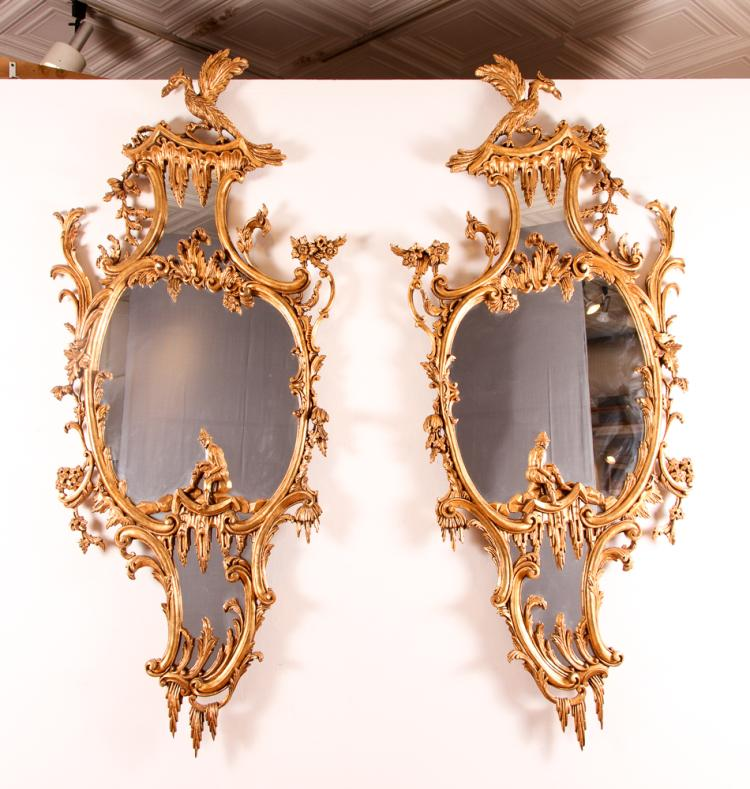 Pair of Monumental Venetian Hall Mirrors