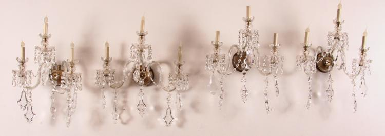 4 Matching 3 Light Electric Sconces