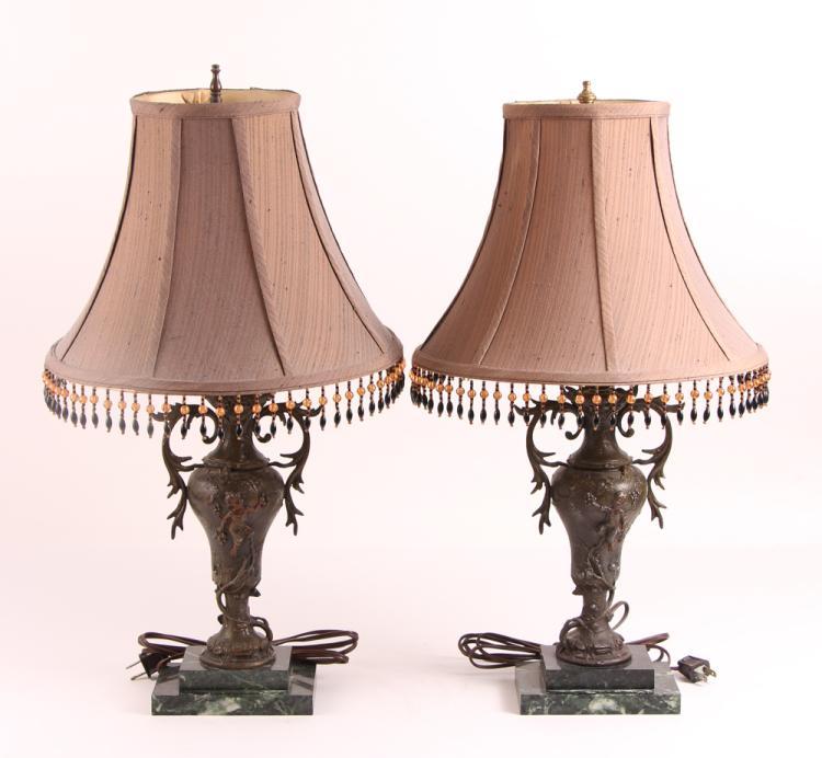 Pair Bronze Baroque Lamps