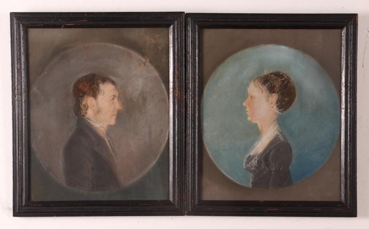 Great Folk Art American Portraits of Man & Woman