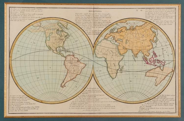 Antique French Double Hemisphere Colored Map of the World
