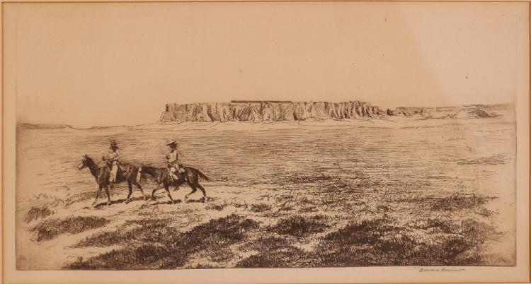 Edward Borein Acoma Village (Pueblo) sepia etching