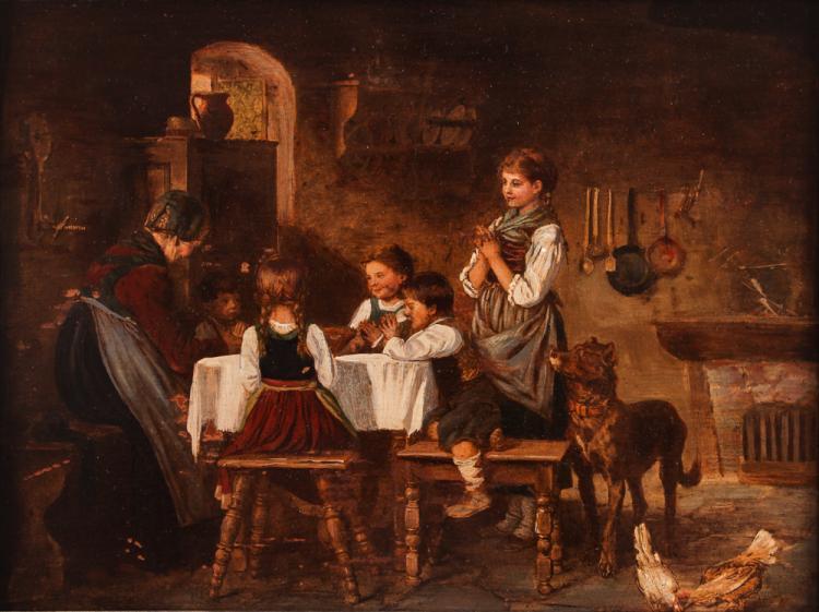 Franz Von Defregger copy oil on paper painting