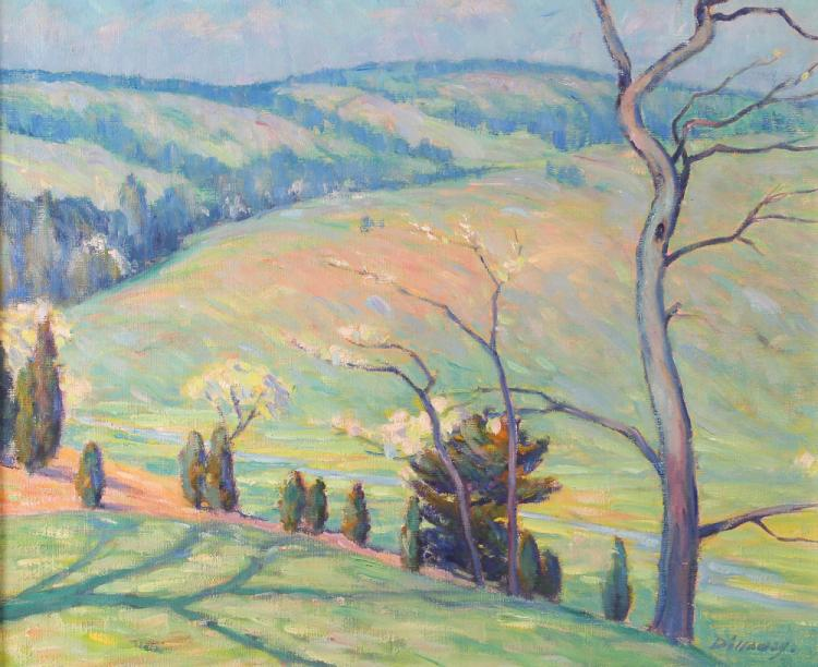 Theo M. Dillaway painting Soft Impressionist Landscape