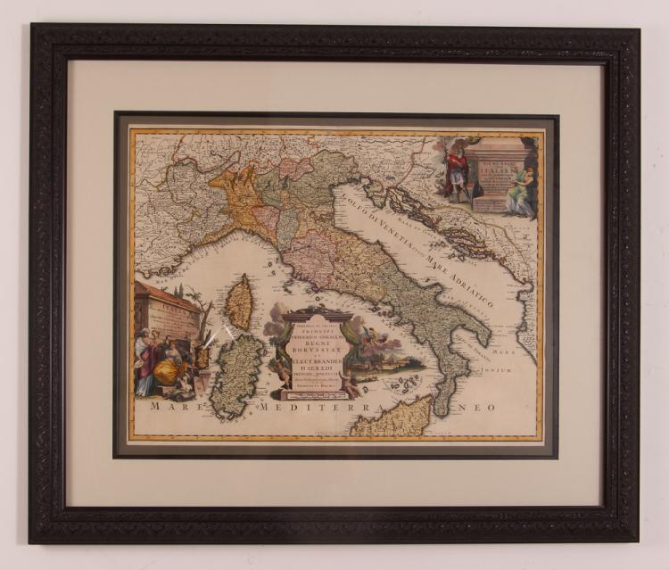 Map of Italy (Italia Antiqua of Oud Italje), 1704  Hand colored engraving