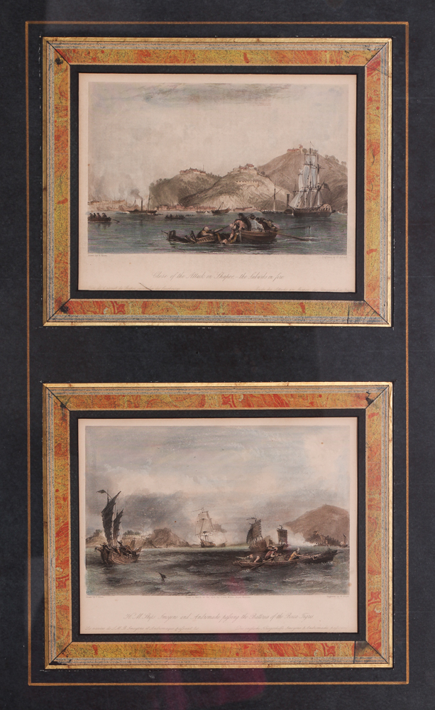 Four Floyd and Adlard 19th C. China Trade Colored Engravings