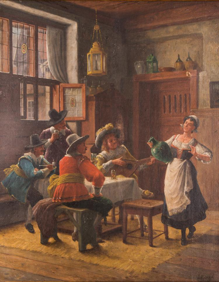 Wilhelm Giessel ptg. Gentleman Courting the Tavern Maid