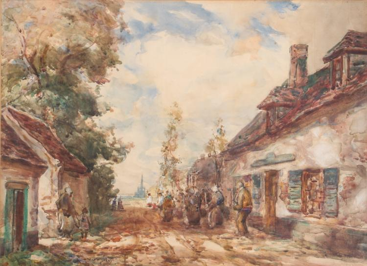Thomas Morley Road to Abeeville Watercolor Painting C. 1920