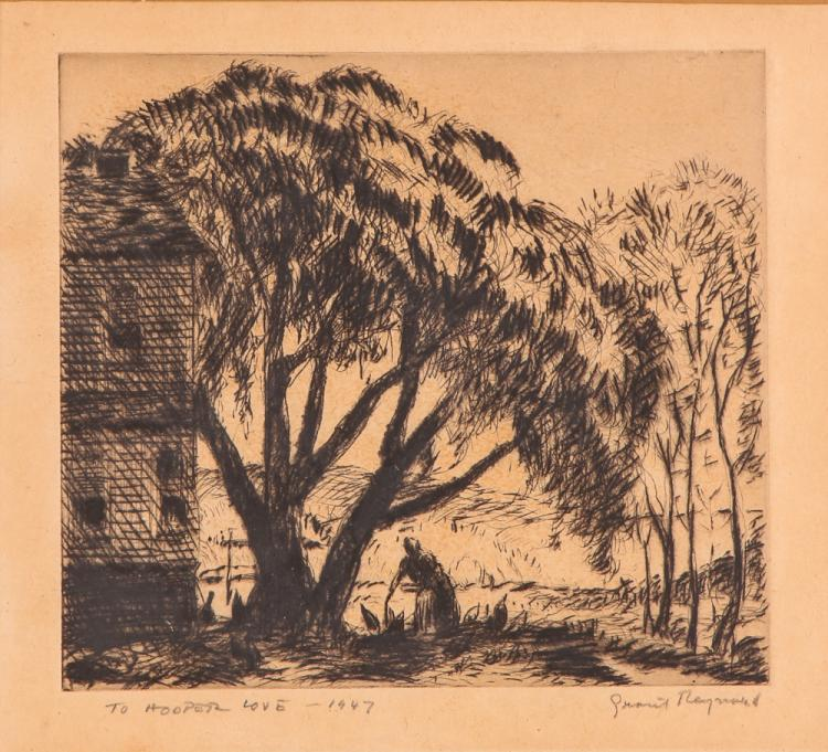 4 Grant Tyson Reynard Noted Etchings with Ephemera