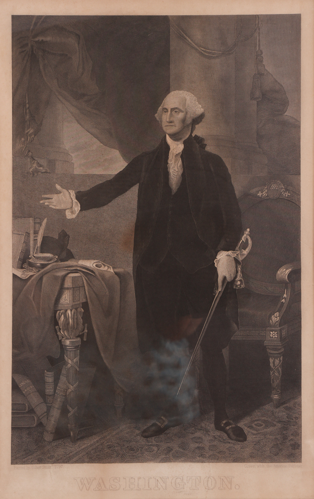After Gilbert Stuart Steel Engraving of George Washington