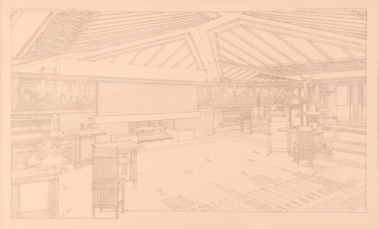 Frank Lloyd Wright Wasmuth print, Plate LVI, interior