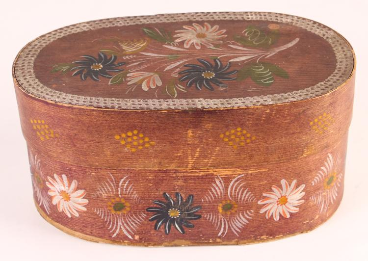 Early 20th cen Polychrome Bentwood Bride's box