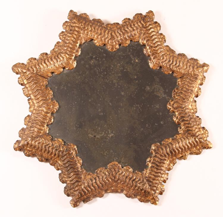 Star Shaped Italian Gilt Wood Mirror