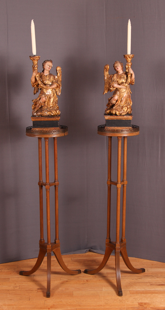 Continental Carved and Polychromed Wood Angels
