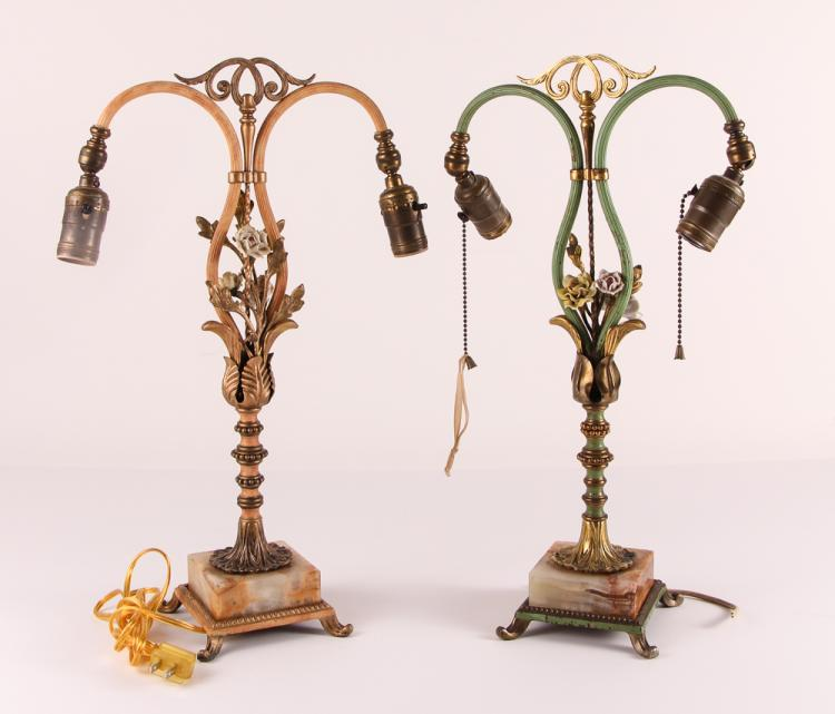 Pair Early 20th Century Boudoir Lamps