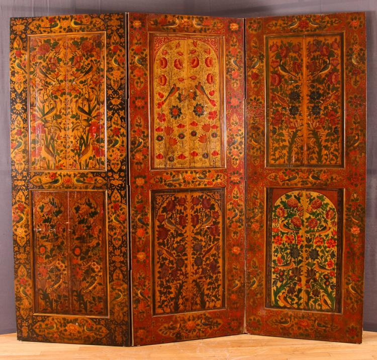 Scandinavian painted 3 panel screen, Arabesque of Flower and Birds