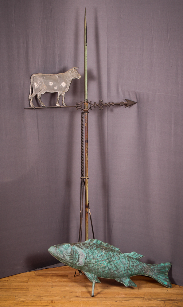Cow and Fish metal Weather Vanes
