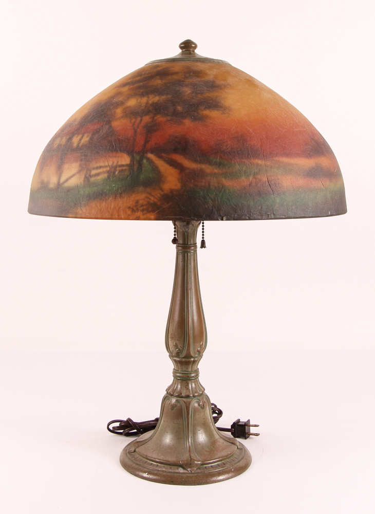 Jefferson lamp, reverse painted shade with a landscape