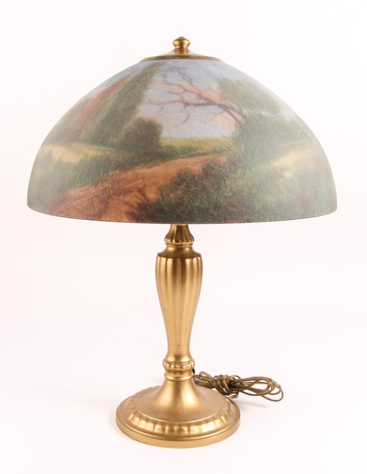 Jefferson lamp, reverse painted shade Verdant landscape