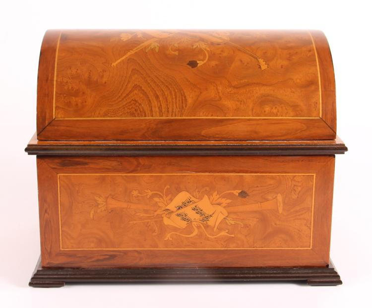 Marquetry Thorens Switzerland Inlaid Dome Top Music Box with 17 Discs