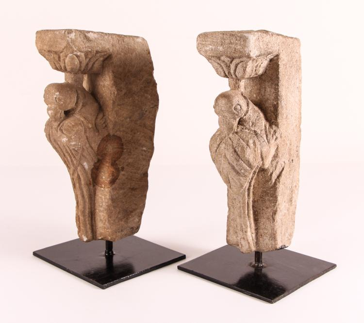 Pair of Romanesque Carved Stone Architectural Corbels