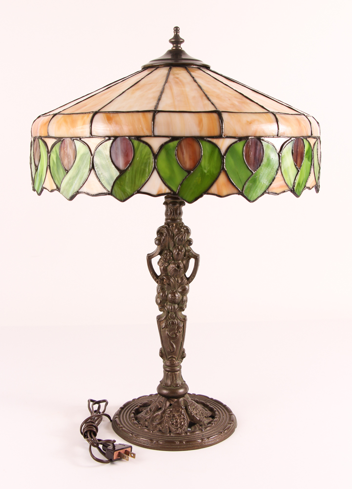 Antique American Leaded Glass Lamp