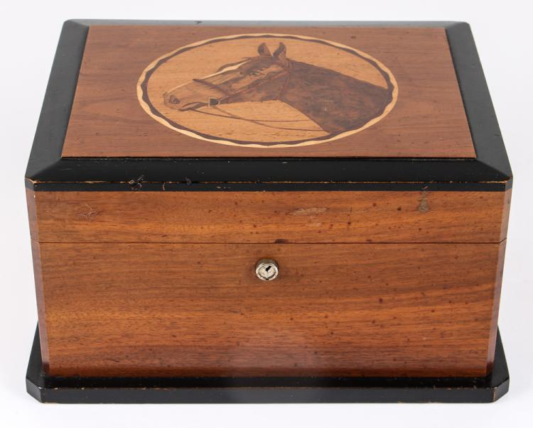 Nice Walnut and Part Ebonized Wood Inlaid Horse Humidor