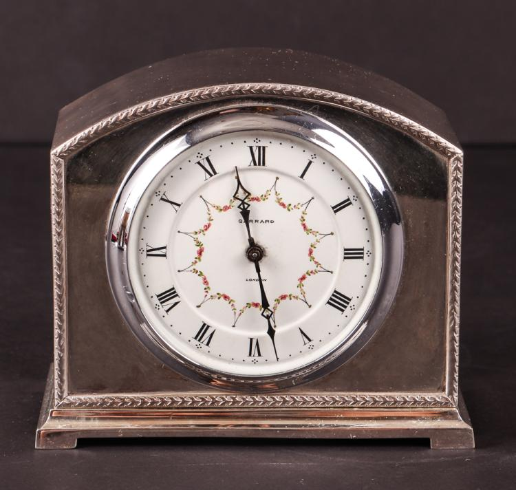 Fine Garrard London Silverplate Desk Clock 1930