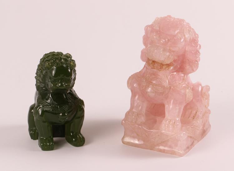 Rose Quartz & Green Glass Foo Dogs