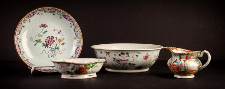 3 ant Chinese porcelain bowls & pitcher painted w fish & flowers