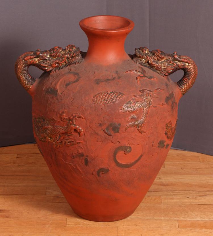 Japanese Tokoname Terracotta Redware Pottery Palace Vase