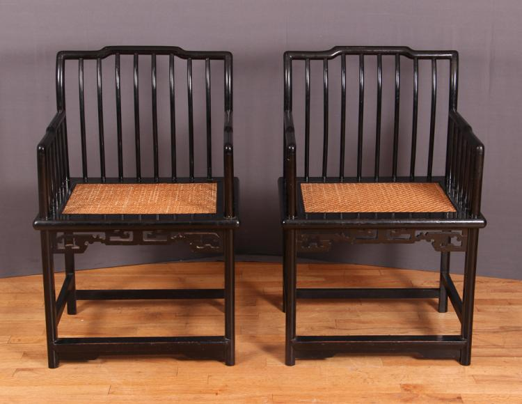 2 Early 20th Cen Traditional Chinese Black Lacquer Arm Chairs