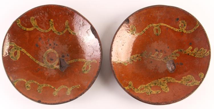 2 19th C. Vine Decorated  Redware Plates