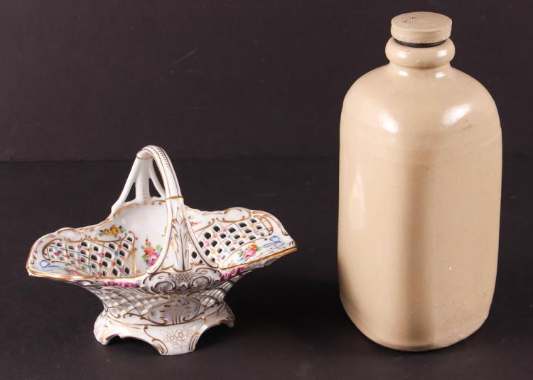 Stoneware Bottle & Royal Dresden Basket