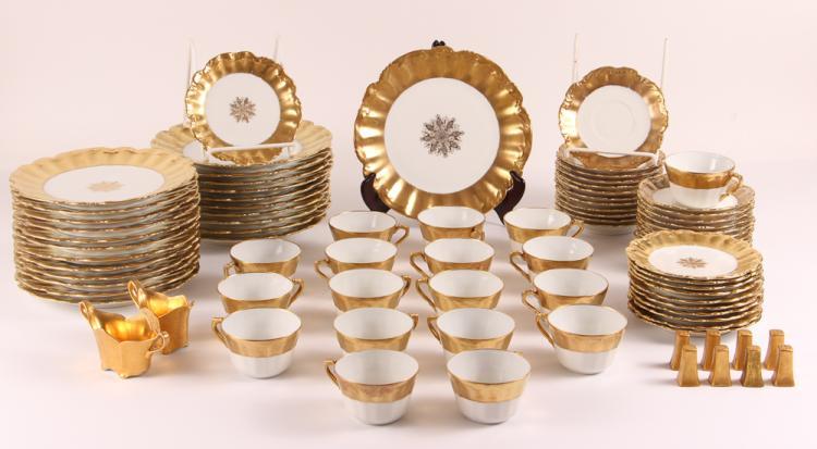 86 Piece Limoges Backstamps: Coiffe star Limoges France Gilded Porcelain Dinnerware