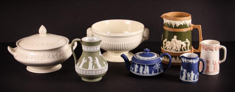Collection of Wedgewood pitchers & 2 bowls