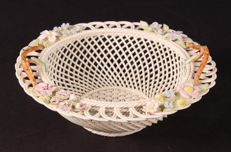 Fine Irish Belleek Porcelain Openwork Basket