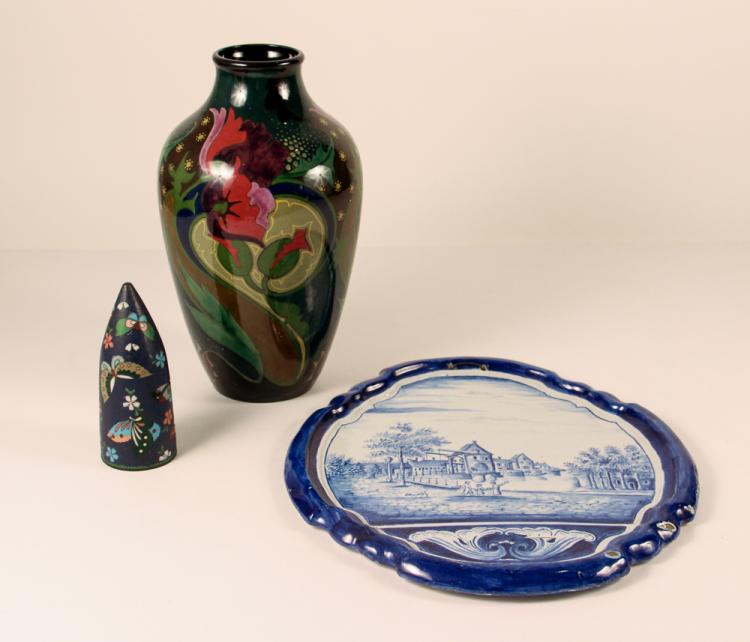 2 Dutch ceramics, Delft wall plaque & Gouda Vase